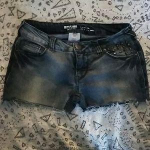 Pants - Cut-Offs Grey-blue w Studs Low-rise Shorts 3